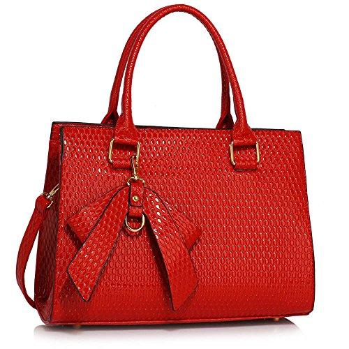 TrendStar Damen Qualität Patents Greifer Frauen Modedesignerin Schulterhandtaschen A - Rot