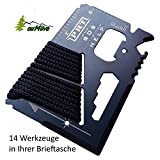 out4live® - Survival Werkzeug 14-1 Credit Card Multitool, Best SAS Survival Multi-tool, Ideal for Fishing Survival Kit Multitool, schwarz