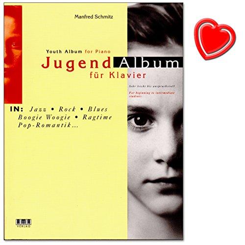 Jugend-Album - eine Sammlung attraktiver Spielstücke für Klavier in aktuell populären Musikstilen für werdende Pianisten von Manfred Schmitz - mit bunter herzförmiger Notenklammer