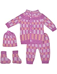 Little Bunnies Unisex Wool Clothing Set (Purple, 0 - 3 Months)