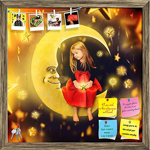 Artzfolio Girl On A Bright Moon With Falling Stars Printed Bulletin Board Notice Pin Board | Antique Golden Frame 20 X 20Inch