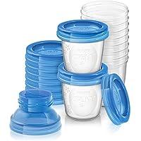 Philips Avent SCF618/10 Système de Conservation du Lait Maternel, Pots de Conservation180 ml, Couvercles Vissables et Adaptateur