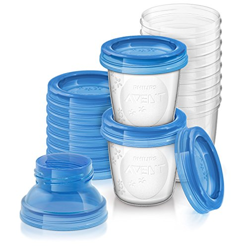 Philips Avent Aufbewahrungsbecher für Muttermilch, 10er Pack (10x 180 ml), SCF618/10, mit Schraubdeckel