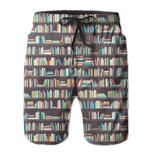 tyui7 Buchhandlung Regale Bibliothek Männer Badehose Quick Dry Beachwear Sport Laufen Swim Board Shorts Mesh Futter, Größe L - Bibliothek Regale