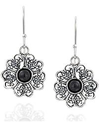 Filigrana flor 925 plata de ley Dangle Pendientes con negro Onyx piedras  preciosas Elegante Joyería de 9e2dde7cddf