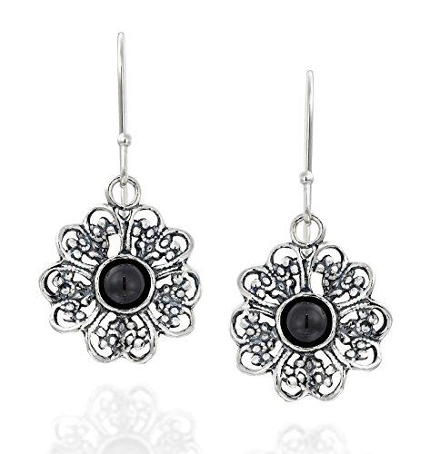 Filigran Blume 925Sterling Silber baumeln Ohrringe mit Schwarz Onyx Edelsteine Modische Damen Schmuck (Sterling Silber Heart Shaped Ring)