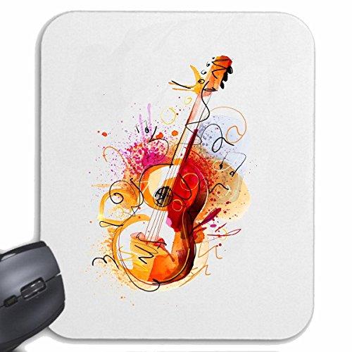 "Mousepad (Mauspad) ""GITARRE GEIGE BASS VINTAGE TECHNO JAZZ FUNKY SOUL TRANCE FESTIVAL HOUSE HIPHOP HIP HOP DJ "" für ihren Laptop, Notebook oder Internet PC .. (mit Windows Linux usw.) in Weiß"