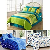 HIGHLIFE 120 TC Cotton Double Bedsheet With 6 Pillow Covers (Green, Blue And White, 90x96-inch) - Set Of 3