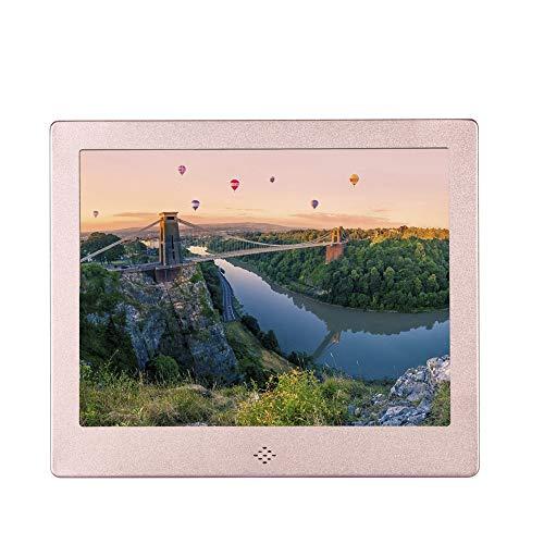 HLKYB Digitaler Bilderrahmen, hochauflösender Foto- / Musik- / HD-Videoplayer/Kalender/Alarm Auto EIN/Aus Werbung Player mit Fernbedienung,Pink