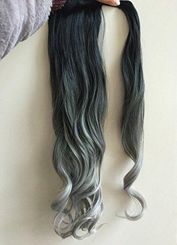 Jimmystar Extensions cheveux à clip longues et ondulées pour enrouler sur queue de cheval - Teintes en dégradé (ombré) - 50,8 cm