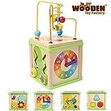 The Wooden Toy Factory - Cubo de Actividades 5 en 1 - Juguete de Madera Educativo para Bebés Niños y Niñas Pequeños - No Requiere Montaje