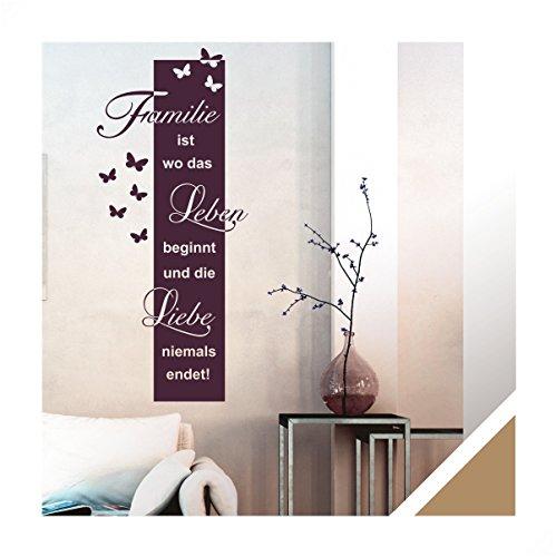 Exklusivpro Wandtattoo Spruch Familie ist Leben Liebe inkl. Rakel (ban45 hellbraun) 150 x 64 cm mit Farb- u. Größenauswahl