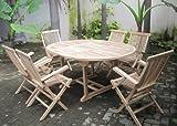 SAM 7tlg. Gartengruppe Borneo, Teak-Holz Gartenmöbel, 1 x Ausziehtisch Borneo + 6 x Hochlehner Mallorca