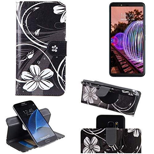K-S-Trade® Schutzhülle Für JVC J20 Hülle 360° Wallet Case Schutz Hülle ''Flowers'' Smartphone Flip Cover Flipstyle Tasche Handyhülle Schwarz-weiß 1x