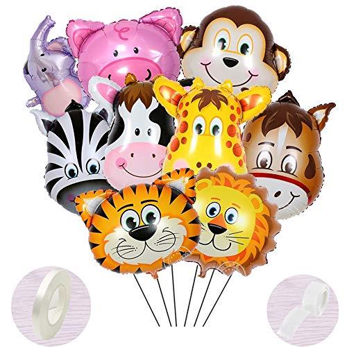 10 Stück Folienballon Tiere Helium set,Aufblasbar Luftballons Dschungel für Baby Junge Kinder Party Dekoration,Riesigen Tierkopf Ballons für1-2-3 -5-6-7-8-9-10 Jahre Geburtstags-deko-geschenk(40-60cm)