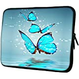 "Snoogg Blue Butterfly Digital 10"" 10.5"" 10.6"" Inch Laptop Notebook Slipcase Sleeve Soft Case For Macbook Pro Acer Asus Dell Hp Sony Toshiba"