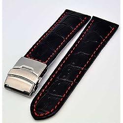 Uhrenarmband mit Faltschließe 22mm schwarz mit roter Naht 3941