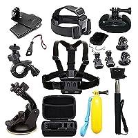 EDOSE Action Camera Accessories AKASO Accessories Bundle Kits for AKASO EK7000 EK5000 GoPro Hero 6 Hero 5 Hero Session and More Sports Camera Accessories Set with Case
