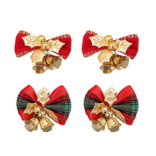 Toyvian 4pcs Noeud Papillon avec Baie de Noel Cloche Clochette de Noel Suspension Noel Décoration Arbre Noel à Suspendre Or Rouge