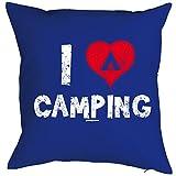 Herziger Kissenbezug mit Aufdruck - I love Camping - für alle Liebhaber und Freunde der Natur als Geschenk Idee