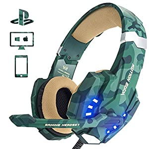 EasySMX PS4 Gaming Headset, LED-Beleuchtung Noise Cancellation Stereo Gaming Headset mit Mikrofon 3,5mm und In-line-Controller, Kompatibel Xbox one, PS4, Mobile Phones, Laptop Tablet und PC