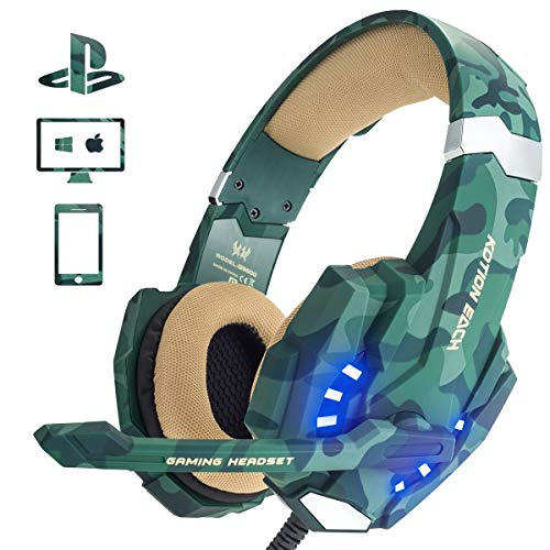 PS4 Gaming Headset, EasySMX LED Noise Cancellation Stereo Gaming Headset mit Mikrofon 3,5mm, Kompatibel mit Neue Xbox one,Mobile Phones, Laptop Tablet und PC, MEHRWEG