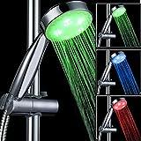 Actoor LED Doccia Soffione, Materiali ABS di Alta qualità Controllo della Temperatura Tricolore Perle di Lampada Morbida Risparmio Idrico Pressurizzato