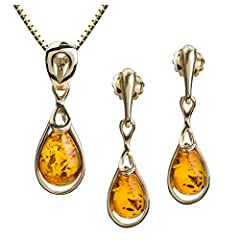 Idea Regalo - Ambra baltica, oro giallo 14 k con pendente e orecchini a goccia, con catenina di 46 cm