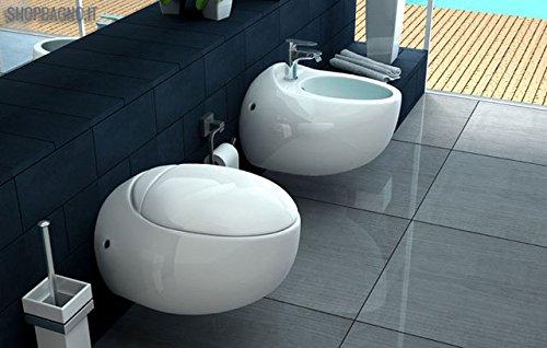Coppia sanitari WC e Bidet sospesi in ceramica bianca RWWH1