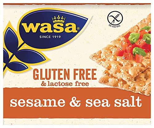 Wasa Knäckebrot Glutenfrei & Laktosefrei Sesam & Meersalz , 5er Pack (5 x 240g)