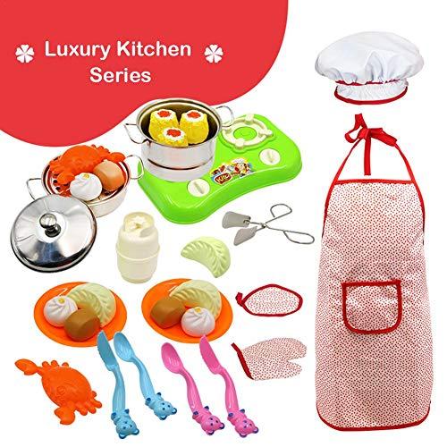 Kinder anti-fallen edelstahl mini küche spielzeug 32 stücke set luxus küche backen kochen werkzeuge kinder rolle spielen kochs anzug -