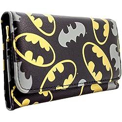 Cartera de DC Batman Oro y gris emblemas Negro