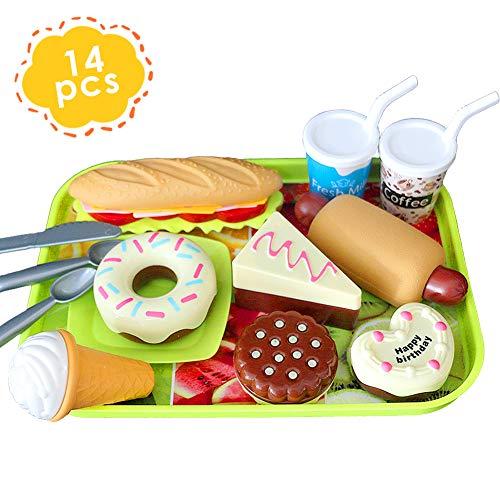 HERSITY Küchenspielzeug für Kinderküche DIY Hamburger Hotdog EIS Lebensmittel Spielzeug Set Spielküche Zubehör Rollenspiele Pädagogisches Lernen Spielzeug Geschenk für Jungen und Mädchen