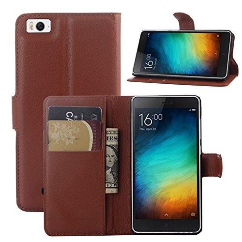 Tasche für Xiaomi Mi 4C Hülle, Ycloud PU Ledertasche Flip Cover Wallet Case Handyhülle mit Stand Function Credit Card Slots Bookstyle Purse Design braun