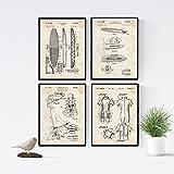 Nacnic Vintage - Lot de 4 Feuilles avec Surf PATENTS. Définir des Affiches avec des Inventions et des Anciens Brevets