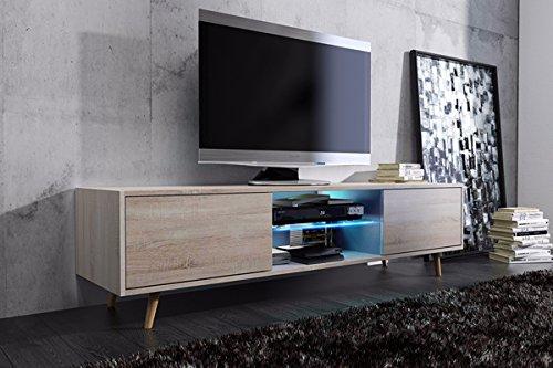 TV–mueble Lowboard Rivano con LED (roble)