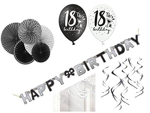 Party Deko Set 18.Geburtstag schwarz weiß 29 teilig Mann Frau weiß schwarz Deko Komplettset Geburtstag