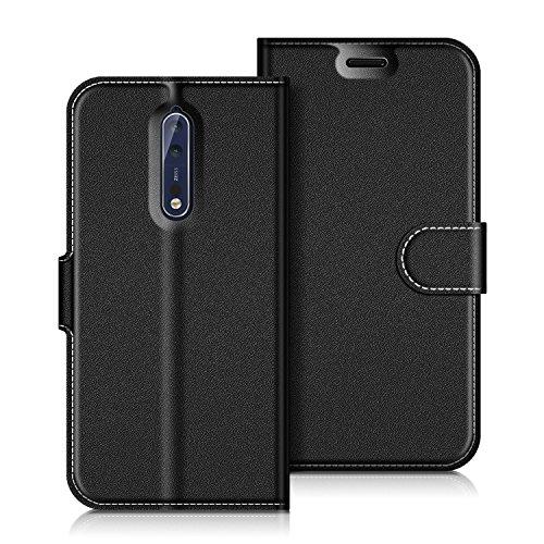 COODIO Handyhülle für Nokia 8 Handy Hülle, Nokia 8 Hülle Leder Handytasche für Nokia 8 Version 2017 Klapphülle Tasche, Schwarz