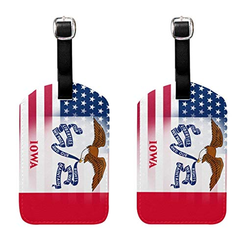 USA Iowa State Flag Travel Luggage Tag Suitcase ID Tags Baggage Bag Tag Labels 2 Pack 00df7255 -