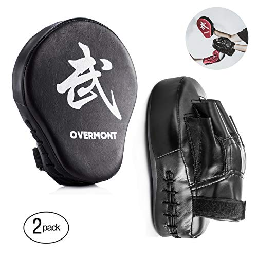 Overmont Scudo a Colpi alla Forma di Palma Arc-Shaped Striking Shield in PU per l'addestramento Boxing, Muay Boxing Thai, Karate, Taekwondo, UFC, MMA NEROx2