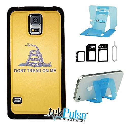 tekpulse (TM) Don 't Tread on Me Orange Echt Leder TPU Handy Fall zurück & Nano Sim Card Adapter & klappbar Handy Stehen-[Bundle Pack, 3Pcs]-Direct Print Technologie, Samsung S5