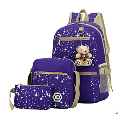 Girls Lightweight Canvas Casual Daypack School Backpack + Shoulder Bag + Pencil Case(3 PCS) (purple)