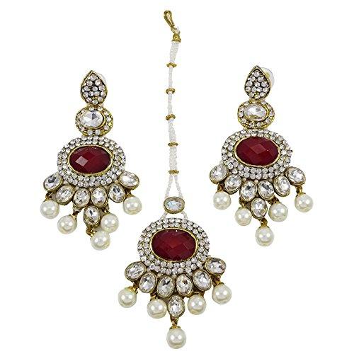 Banithani Collier Mis Ethnique Cadeau De Bijoux Traditionnels De Mariage Indien Pour Les Femmes bordeaux