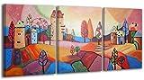 100% HANDGEMALT + Zertifikat | 120x60 cm | YS-Art Acryl Gemälde | Märchen Stadt | Bild auf Leinwand und Holzrahmen | Bilder Handarbeit | Wand Bild Unikat | 3-Teilig | Moderne Kunst (RR-003)