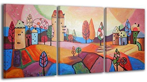 100% HANDGEMALT + Zertifikat   120x60 cm   YS-Art Acryl Gemälde   Märchen Stadt   Bild auf Leinwand und Holzrahmen   Bilder Handarbeit   Wand Bild Unikat   3-Teilig   Moderne Kunst (RR-003)