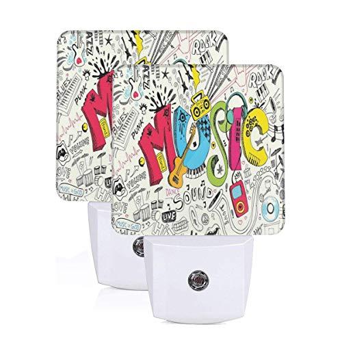 Pop Art Featured Doodle Style Musical Background With Instruments Sound Art Illustration Auto Sensor LED Dusk to Dawn Night Light Set Of 2 White - Doodle-pop-art