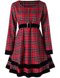 c43eacc683d3 Vintage Vestito Griglia di Lana Donna Elegante Abito da Sera Taglie Forti  con Girocollo Casual Gonna a Lunga Maniche con Cintura Dress…