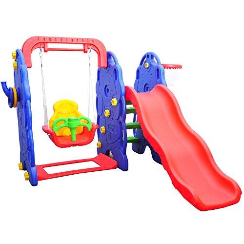 HOMCOM Kinderrutsche Kinder Rutsche Spielzeug Slide Gartenrutsche Babyrutsche (Elefantrutsche mit Schaukel)