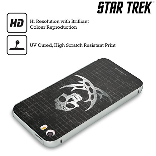 Ufficiale Star Trek Worf Angosciato Klingon Arte Dellarma Argento Cover Contorno con Bumper in Alluminio per Apple iPhone 5 / 5s / SE Cranio Angosciato