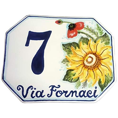 CERAMICHE D\'ARTE PARRINI- künstlerische Italienisch Keramik personalisierte 15x12 Keramik Hausnummer Dekoration Sonnenblumen und Mohn Hand gemacht in Italien Toskana